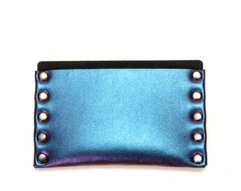 Peacock Slim Wallet | Cobalt Iridescent Thin Wallet | Card Holder | Mens Wallet | Wallet | Simple Wallet | Vegan | Made in USA