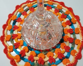 Crocheted Mandala, Dining table decorations, Party decorations
