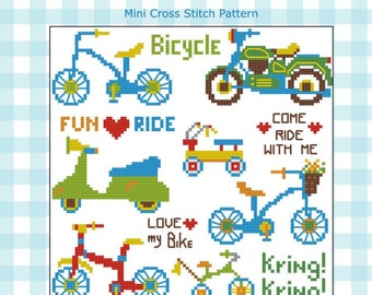 Bicycle Motorcycle Cross Stitch Pattern PDF chart