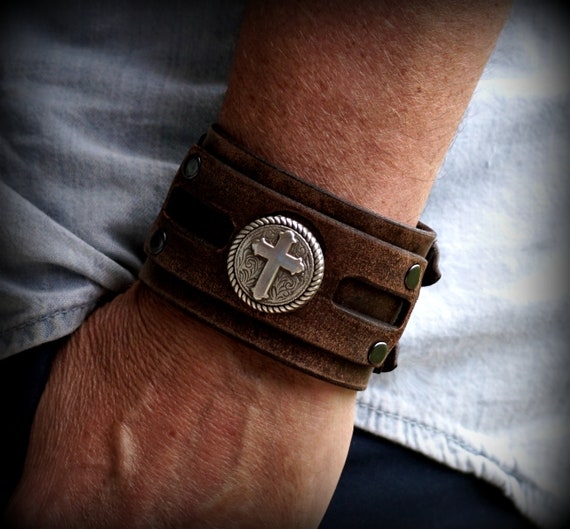 Adjustable leather cuff, Women's Leather Cuff, Men's Leather Cuff,  Cross Bracelet,  Religious Jewelry,  Leather Cuff