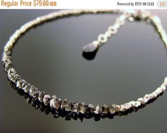 Genuine Black Raw Rough Uncut Diamond Sterling Silver Bracelet or Necklace