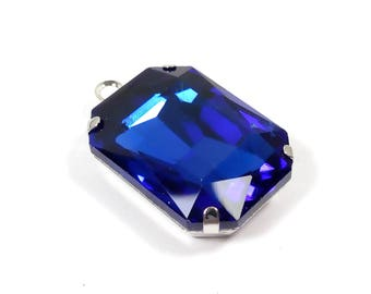 1 crystal blue/silver 25 mm rectangle glass pendant