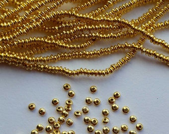 2.5mm Rounded Saucer Gold Vermeil over Sterling Silver Shiny Rondelle Spacer Beads (50 beads)
