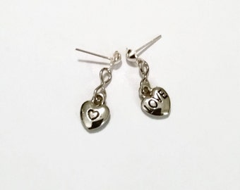 Heart Earrings, Tiny Heart Earrings, Love Earrings