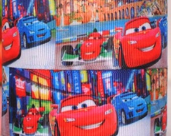 Ribbon grosgrain printed * 22 mm * drive Cars red blue - sold by the yard