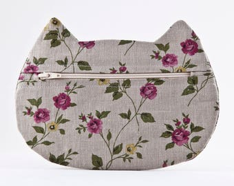 Floral Cosmetic Bag, Small Makeup Bag, Gray Pencil Case, Cute Zipper Pouch, Linen Makeup Bag, Boho Cosmetic Bag, Cat Lover Gift, Cat Bag