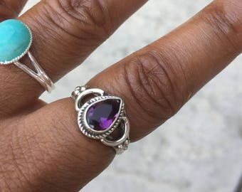 Sterling Silver Amethyst Ring/ Chunky Silver Ring/ Sterling Silver Boho Ring/ Silver Boho Rings/ Gemstone Ring/ Boho Jewelry/