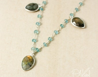 Blue Labradorite Teardrop Bib Necklace – Blue Apatite Beaded Chain