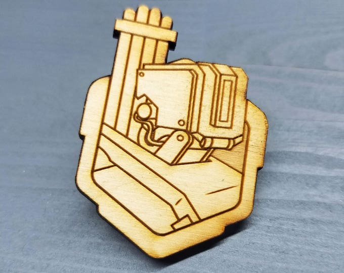 Bastion Overwatch Pin | Laser Cut Jewelry | Wood Accessories