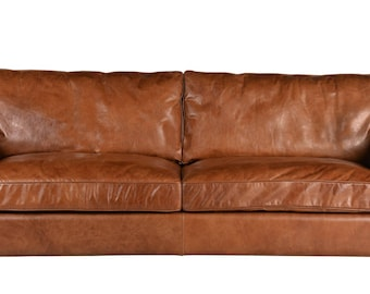 Aniline brown leather convertible sofa (mattress included in price)