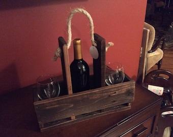 Reclaimed Wood Wine Caddy