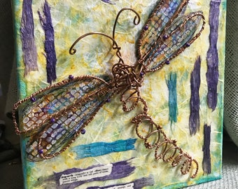 Copper Dancer - 8 x 8 inch mixed media gallery wrapped canvas copper dragonfly