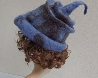 Natural blue hand felted wool hat