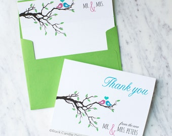 FREE SHIPPING Free Personalization Lovebirds in Tree Card Set | Thank You Cards | Note Card Set | Bridal Shower Thank You | Mr & Mrs Cards