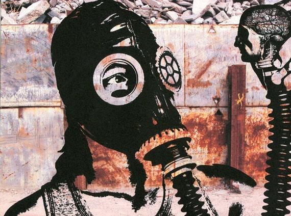 Zombie apocalypse boy wearing gas mask art print, original digital art, modern urban art, end of the world, original artwork, contemporary