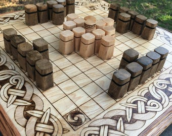 """Upgrade Item*: """"Obelisk"""" wooden playing pieces, Pawns for full-size Hnefatafl Games, select by tafl variant - Handcrafted  - MADE TO ORDER"""
