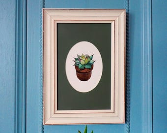 Original painting, Watercolor triangle succulent, original watercolor, cactus art, sukkulent art, original drawing