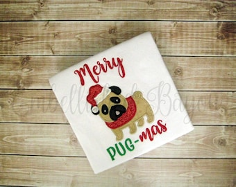 Merry Pug-Mas Christmas Ruffle T-shirt or Onesie Bodysuit for Girls
