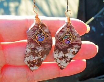 Copper Earrings slices ocean jasper 47 / 22mm vintage strass