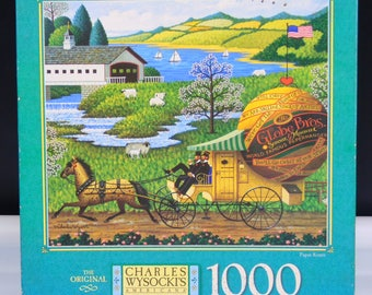 Paper Route Charles Wysockis Americana Jigsaw Puzzle Incomplete 4679-15 MB Puzzle 1000 Pieces 1997 Made in USA