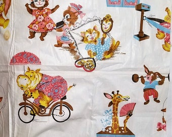 Adorable vintage babies room fabric