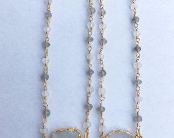 Classic Druzy on Labradorite & Moonstone Beaded Chain