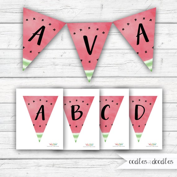 Watermelon Banner One In A Melon Birthday Banner Baby