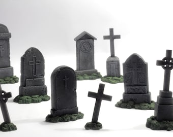 miniature gravestones: kit of 9 models
