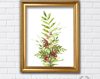 Watercolor botanicals with berries, green foliage, printable art - HC 17