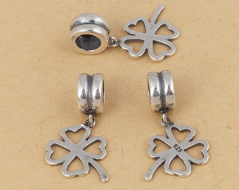 S925 Sterling Silver Clover  charm ,  Antique Silver/Bright Silver , Large hole/big hole European style bracelet charm , 1pc