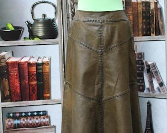Vintage Leather Maxi Skirt