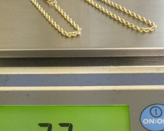 "14K SOLID Yellow Gold ROPE CHAIN 18"" Necklace 7.7 Grams Beauty!!"
