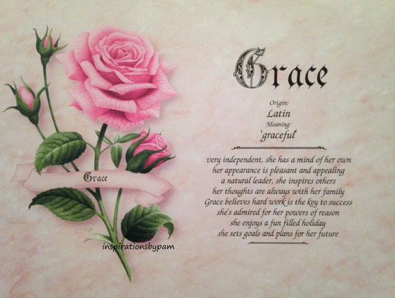 Grace First Name Meaning Art Print-Name Meaning Art-8x10 Art