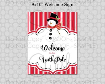 Christmas Printable Welcome Sign Snowman - INSTANT DOWNLOAD