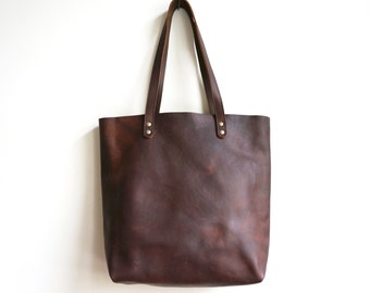 Brown Leather Tote / Distressed Leather Tote / Women Tote Bag  / Shopper Tote  /Simple Bag
