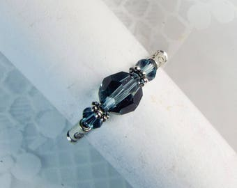 "Cynthia Lynn ""Dazzle"" Brilliant Indian Sapphire Swarovski Crystal Stretch Ring"
