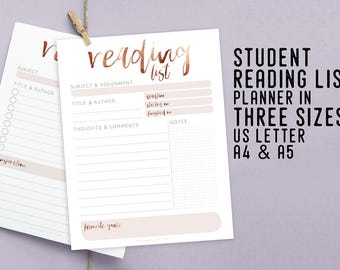 Student Reading List Planner, Printable Instant Download, Productivity Planner, DIY Desk Planner, Academic Diary, Book List, School Planner