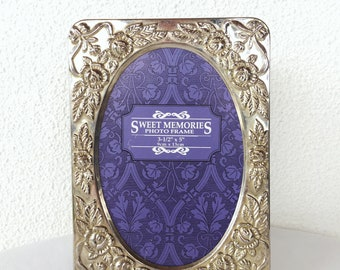 Silver Floral Embossed Picture Frame