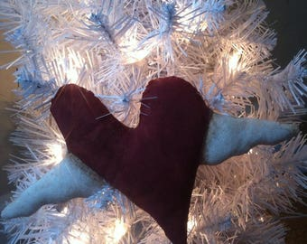3pc. Primitive Heart Valentine Ornament doll