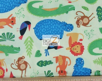 """Rainforest Fun Green By Arrolynn Weiderhold For Wilmington Prints 100% Cotton Fabric 45"""" Wide By The Yard (FH-1812)"""