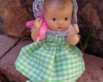 vintage Effanbee Baby Tinyette, composition baby doll 6.5 inches