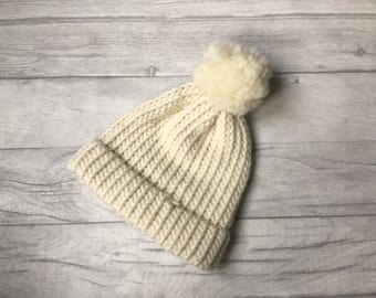 Ladies cream knitted beanie hat with pom pom, ski hat, snowboarding hat, hand knitted bobble hat, christmas in july etsy uk, skiing hat UK