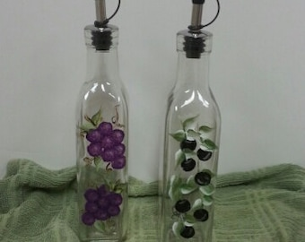 Hand-painted Oil & Vinegar Bottle Set