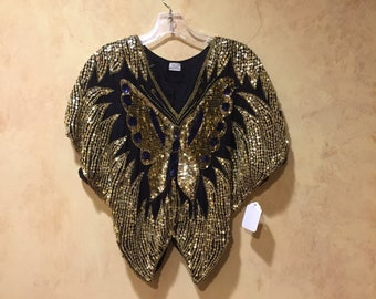 Black silk gold sequined Indian butterfly top