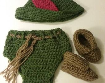 Crochet Green Peter Pan 3 pieceNewborn set. Photo prop.