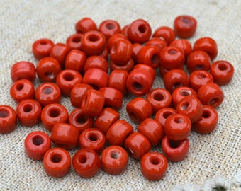 100pcs Pony Glass Beads Opaque Red 9x7mm Crow Beads