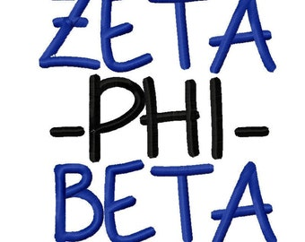 Zeta Phi Beta sorority Machine Embroidery Design Greek Instant download rush week gift daughter college university monogram 4x4 5x7 6x10