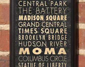 New York City Manhattan Points of Interest Wall Art Sign Plaque Gift Present Home Decor Vintage Style broadway, central park Classic