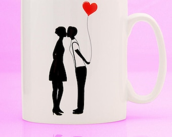 Lesbian Silhouette Balloon Mug - lesbian mug - lesbian gift - lesbian girlfriend gift - lesbian birthday - lesbian couple mug