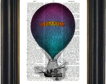 Blue Purple Atlantic Balloon Print on Repurposed Dictionary Page